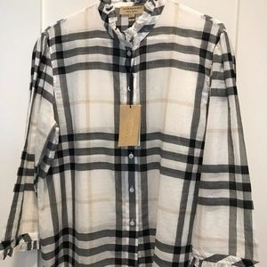 Burberry White Check Salla Ruffle Cotton Shirt